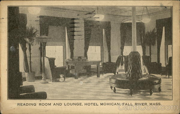 Reading Room and Lounge at Hotel Mohican Fall River Massachusetts