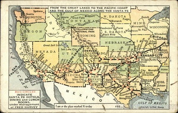 Map From the Greak Lakes to the Pacific Coast and the Gulf of Mexico Along the Santa Fe
