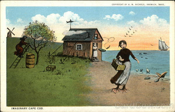 Imaginary Cape Cod Cottage and Woman with Duck Feet Massachusetts