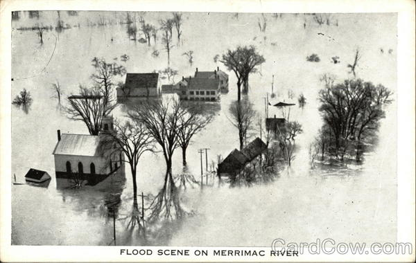 Flood Scene on Merrimac River Massachusetts