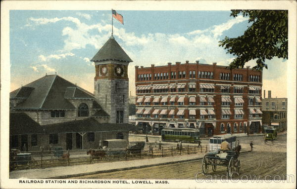 Railroad Station and Richardson Hotel Lowell Massachusetts