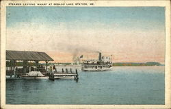 Steamer Leaving Wharf Postcard