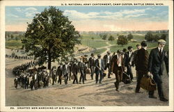 Drafted Men Marching Up Big Hill to Camp - Camp Custer