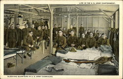 Life in the U. S. Army Cantonment - Sleeping Quarters in U. S. Army Barracks