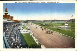 At the Finish, Latonia Race Track Postcard