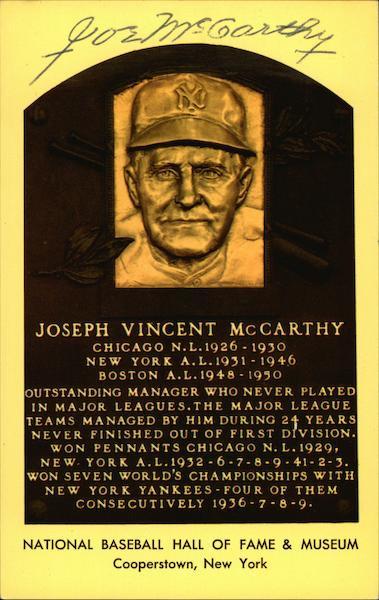 Joseph Vincent McCarthy Cooperstown New York Baseball
