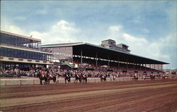 View of Grandstand and Home Stretch at Suffolk Downs Postcard