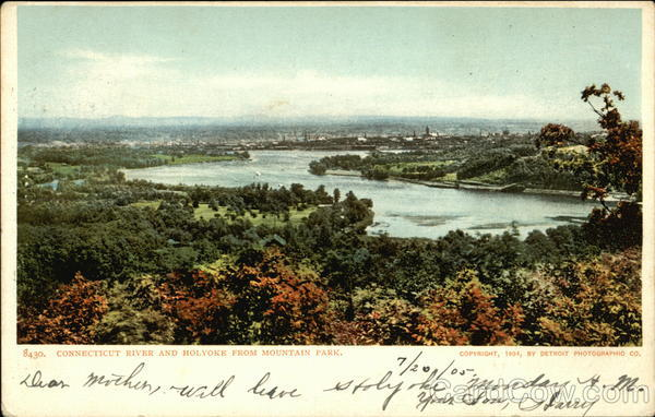 Connecticut River and Holyoke From Mountain Park Massachusetts