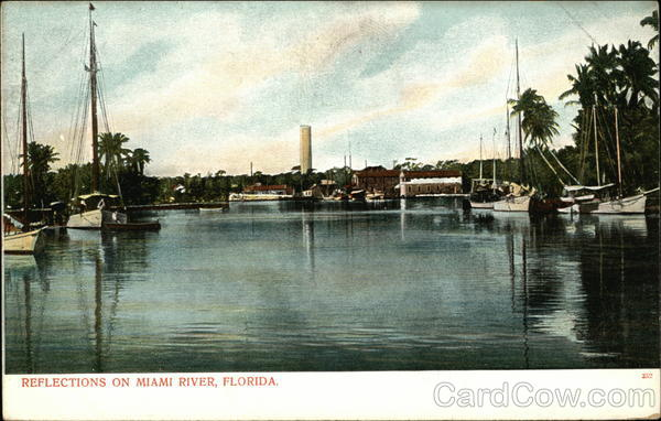 Reflections on Miami River, Florida