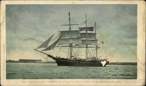 Whaling Bark, Starting on Voyage to Indian Ocean New Bedford Massachusetts