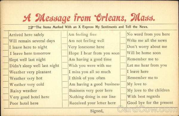 A Message from Orleans Massachusetts Correspondence Cards