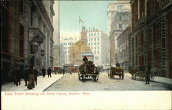 State Street showing Old State House Postcard