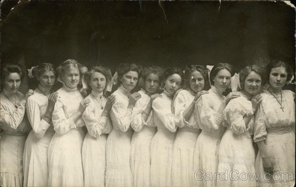 Girls in White Dresses - Graduating Class School and Class Photos