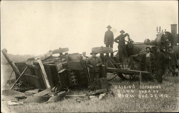 Raising Separator blown over by storm Aug. 27, 1912 Shell Lake Wisconsin