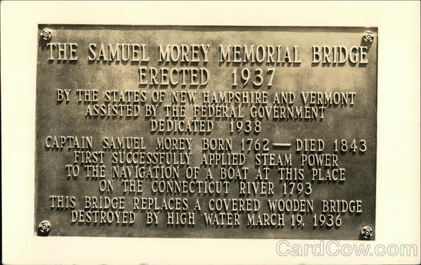 Plaque for the Samuel Morey Memorial Bridge Fairlee Vermont