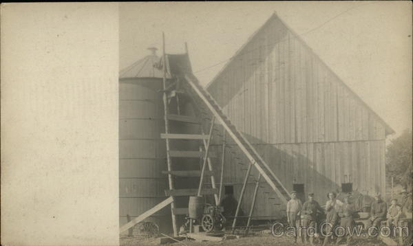 Farmers Posing By Silo New Hampshire Men Farming