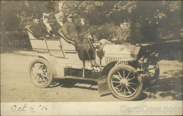 Two Couples In Chauffeur-Driven Convertible, October 4, 1906