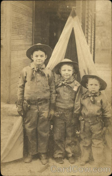 Cowboy Boys In Front of Indian Teepee Geo. W. Autry