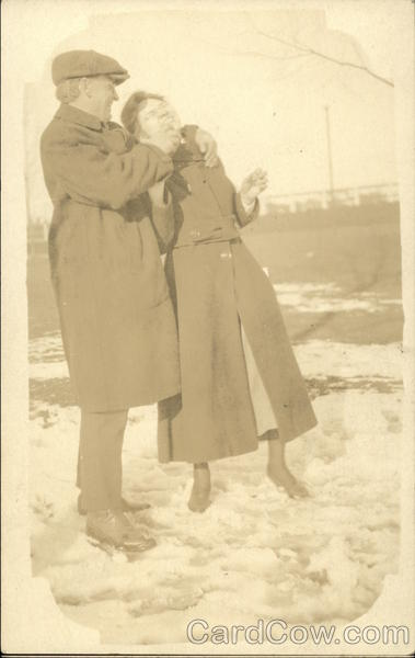 Couple Playing in Snow Binghamton New York Couples