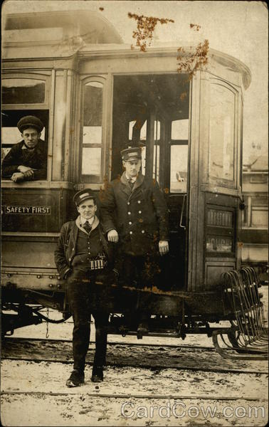 Workers on Cable Car Binghamton New York Trolleys & Streetcars