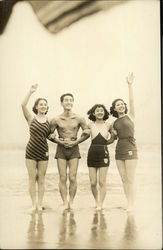Four Japanese Bathers at Beach