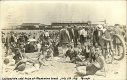 Crowds at Manhattan Beach Postcard