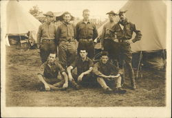 Military Men in front of Tents, 5 standing, 3 sittiing