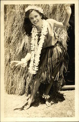 Beautiful Hawaiian Woman with Long Lei