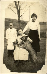 Portrait of Three Women and Dog