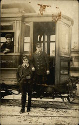 Workers on Cable Car Postcard