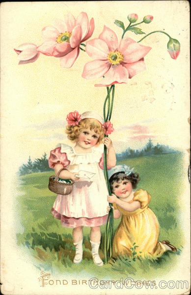 Fond Birthday Wishes - Two Young Girls with Large Pink Flowers
