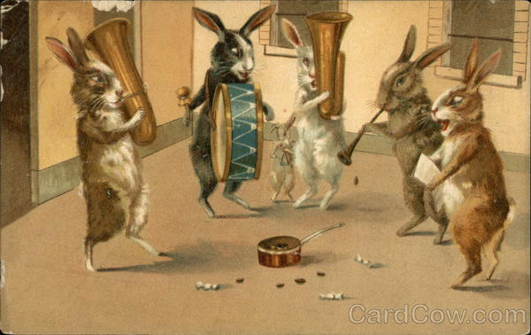 Five Rabbits Playing Instruments For Coins