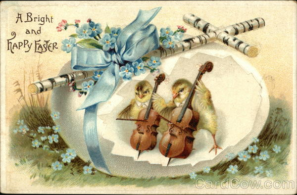 A Bright and Happy Easter - Cross, Egg Shell with Blue Bow and Flowers, Musical Chicks