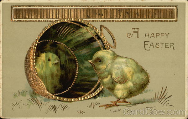 A Happy Easter - Chick looking at Reflection in Gold Bucket