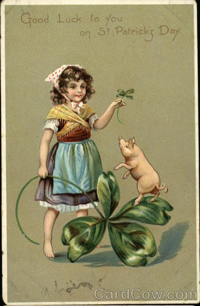 Good Luck to you on St Patrick's Day - Peasant Girl, Shamrock, and Pig
