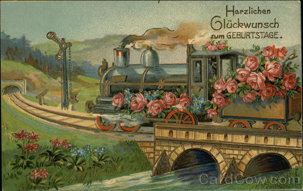 """Congratulations on Your Birthday"" - Train Decorated with Pink Flowers"