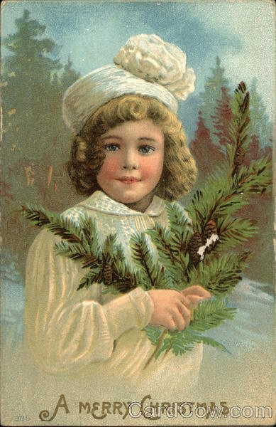 A Merry ChristmasGirl in White Hat holding pine branch