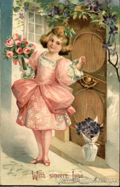 With Sincere Love - Girl Dressed in Pink holding Flowers, Knocking at Door