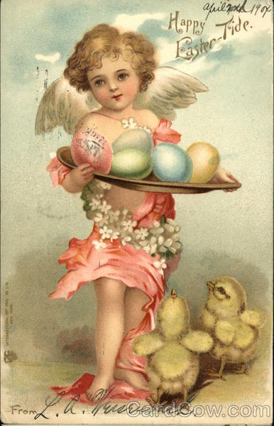 Happy Easter-Tide - Cherub Holding Colorful Eggs, Baby Chicks at Feet