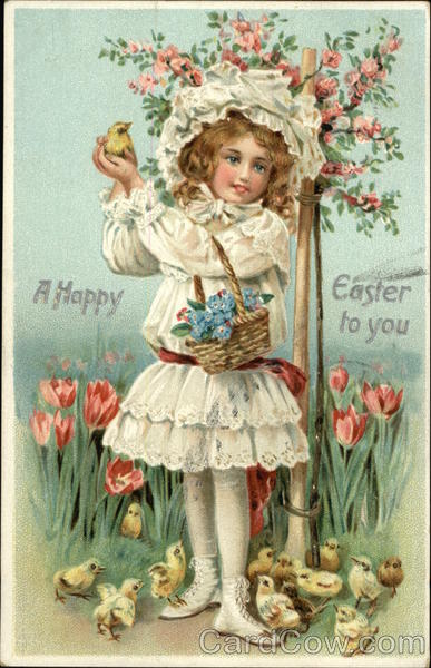 A Happy Easter to You - Young Girl Holding Chick and Flower Basket