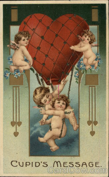 Cupid's Message - Four Cherubs with Heart Shaped Balloon