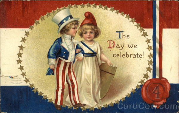 The Day We Celebrate! - Patriotic Children, Gold Stars, Red White & Blue