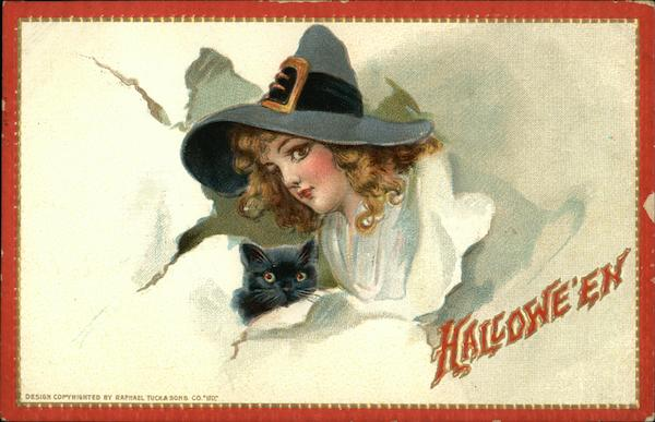 Halloween Witch & Black Cat