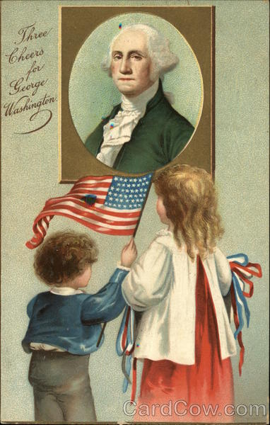 2 children, one waving flag, looking at portrait of Washington