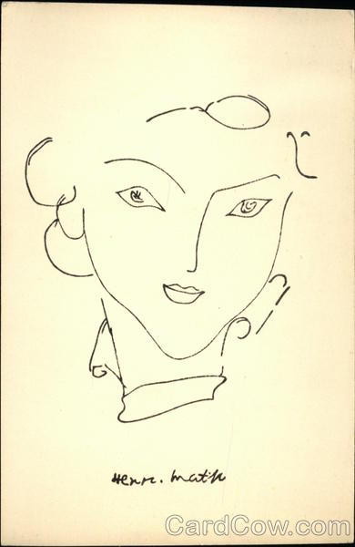 Pen and Ink Sketch of Woman's Face Picasso Art