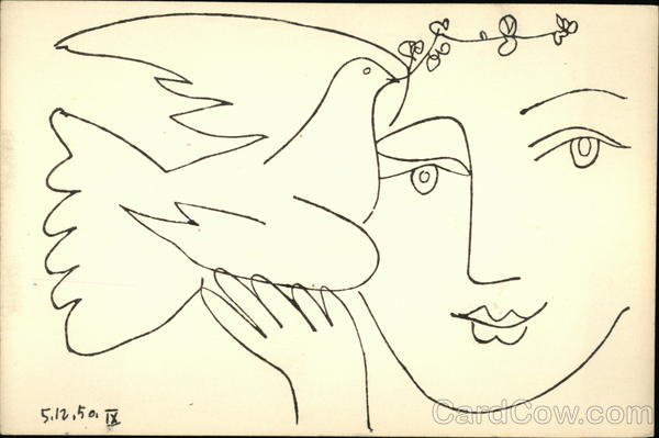 Pen and Ink of Woman Holding Dove with Olive Branch