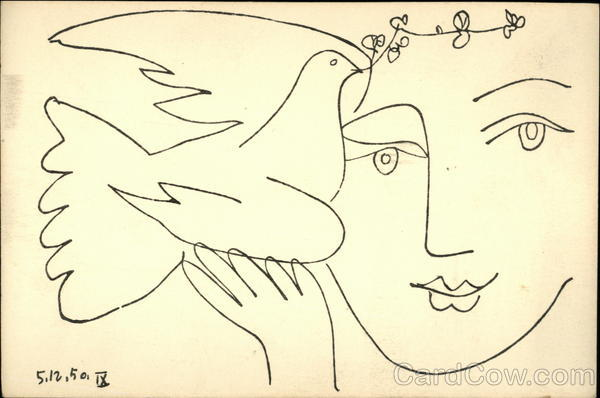 Pen and Ink Sketch of Woman Holding Dove with Olive Branch