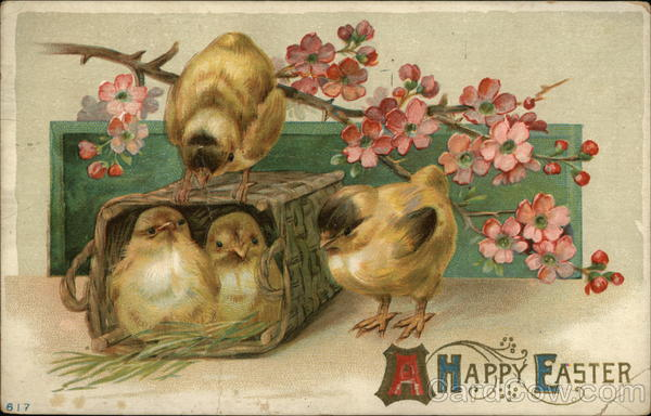 A Happy Easter - 4 chicks, 2 in basket, plus pink flowers