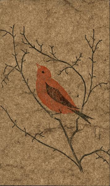Block Print of Red Bird on Branches Gwen Frostic Birds