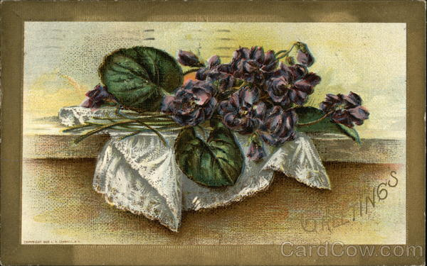 Greetings - Lace Handkerchief with Cut Violets